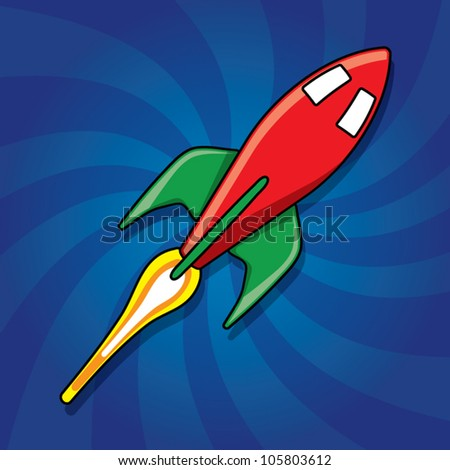 Shiny red rocket with fire flame on dynamic blue background, vector illustration