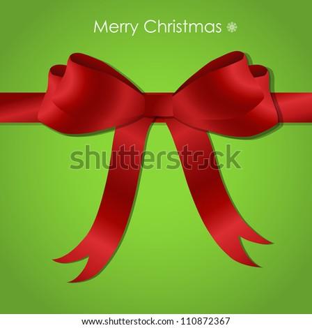Shiny red satin ribbon on green background, vector illustration.