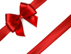 Shiny red satin ribbon on white background. Vector red bow and ribbon.