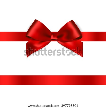 Shiny red satin ribbon on white background. Vector red bow. Isolated red bow and ribbon. Red bow and red ribbon. Holiday red bow and ribbon. Red bow and ribbon for card, voucher and greeting. Silk bow