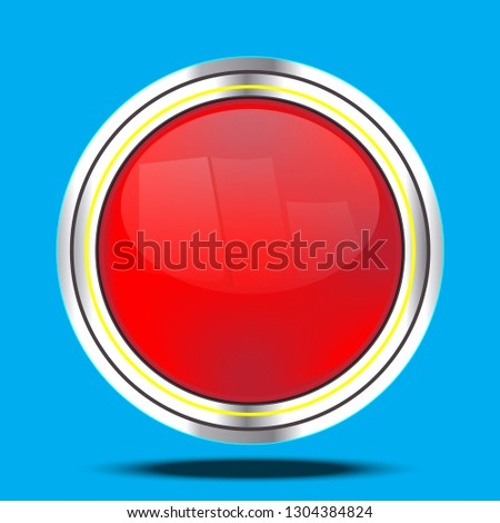 Shiny red shiny buttons with metal elements, vector design for website design, sticker-vector design.