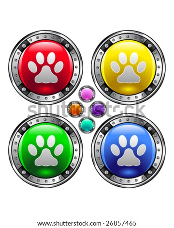 Shiny round vector button set with pet paw print icon on colorful background