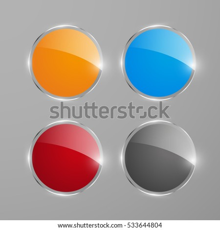 Shiny round web banners or buttons, vector illustration