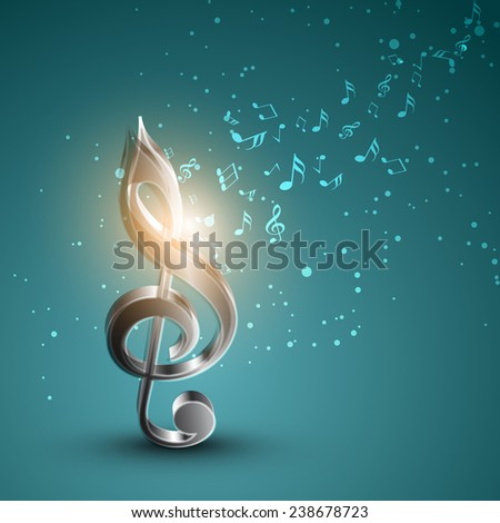shiny silver 3d g clef with