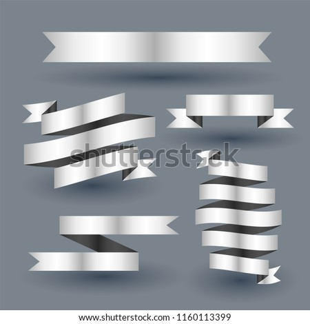 shiny silver ribbon banner set