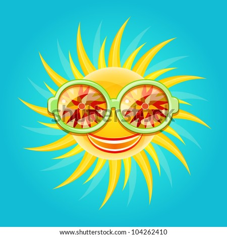 Shiny Smiling Yellow Sun Wearing Cool Glasses with Floral Pattern Reflection