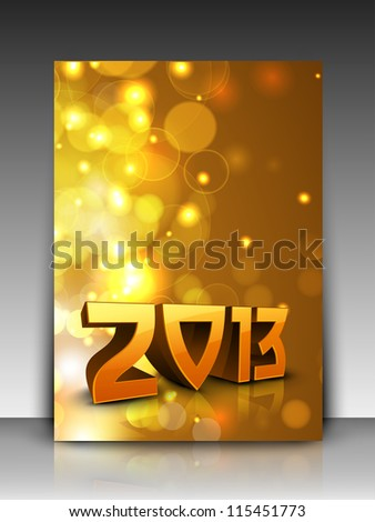 Shiny snowflake decorated greeting card or gift card for 2013 Happy New Year celebrations. EPS 10