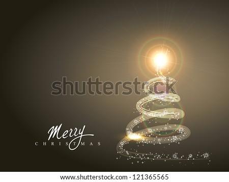 shiny sparkle christmas tree vector design