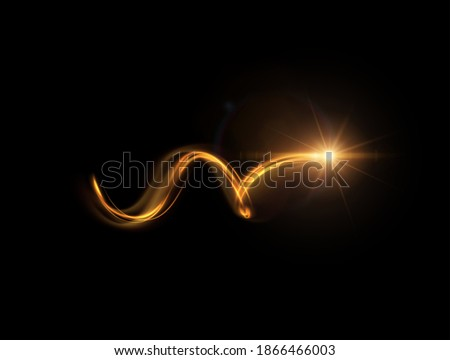 Shiny sparkling spiral with magic glittering dust particles vector effect. Energy motion light painting illustration.