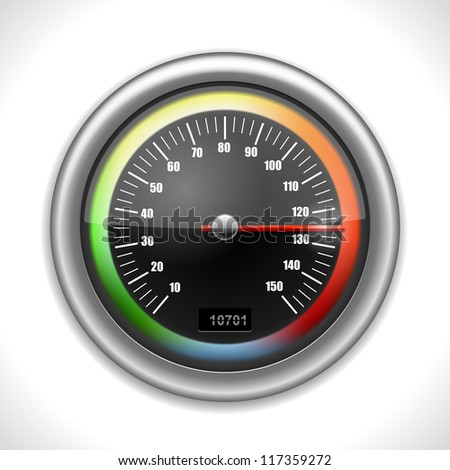 Shiny Speedometer isolated on white. Vector Illustration