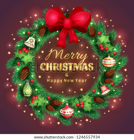 Shiny spruce christmas wreath with a golden greeting Merry Christmas and Happy New Year text and decorative green leaves, red berries, christmas toys, cones on brown background. Vector illustration #1246557934