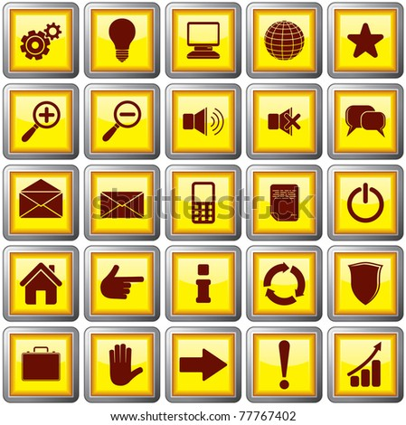Shiny Square Shaped Web Buttons with useful symbols