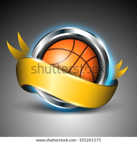 Shiny steel circle with basket ball and yellow ribbon isolated on grey background EPS 10