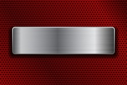 Shiny steel plate on metal perforated background. Vector 3d illustration