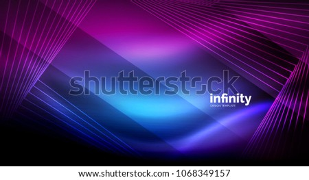 Shiny straight lines on dark background, techno digital modern template. Vector background