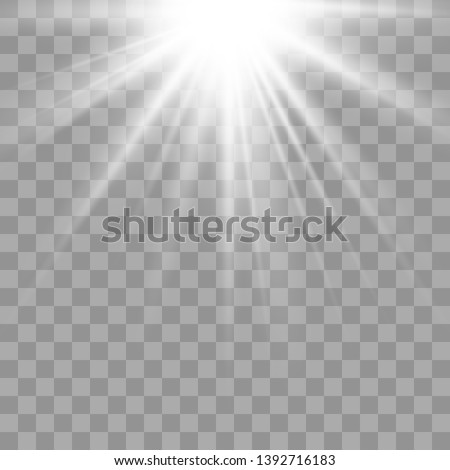 Shiny sunburst of sunbeams on the abstract sunshine background and transparency background.transparent sunlight special lens flare light effect. Vector illustration eps 10.