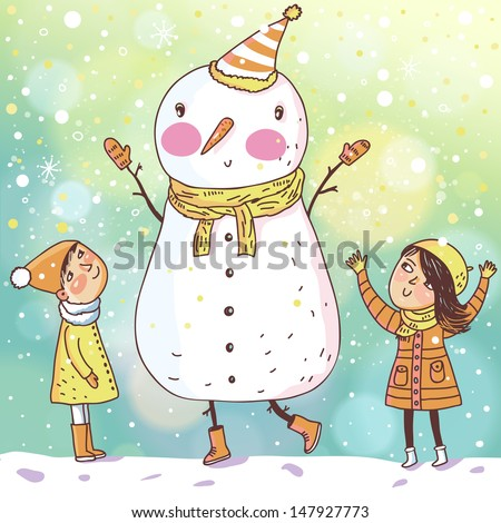 Shiny vector christmas background with funny snowman and children. Happy new year postcard design with boy and girl enjoying the holiday. Winter snow with bokeh effect. 2014 card