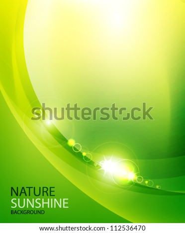 Shiny wave abstract background. Green color