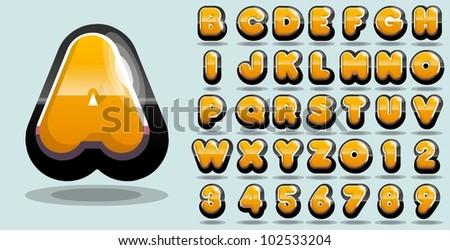 shiny yellow vector alphabet