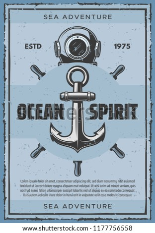 Stock Photo Ship anchor vintage nautical poster for seafarer sailing. Vector retro design of aqualung and captain helm for sailor ocean and sea adventure spirit