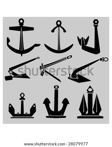 Ship and boat anchors in vector silhouette