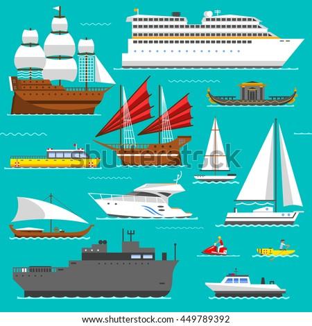 Ship and boats sea symbols vector