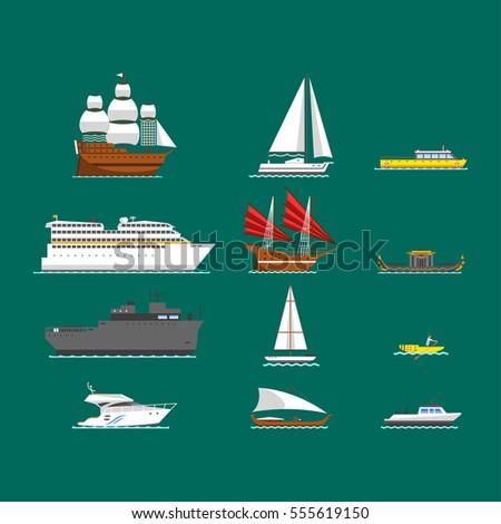 ship and boats vector
