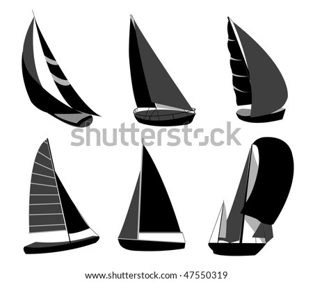 ship, boat silhouettes - stock vector