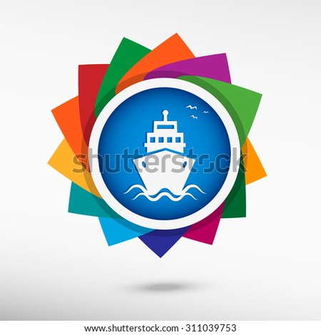 Ship color icon, vector illustration. Flat design style