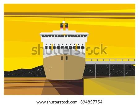 ship docking simple illustration