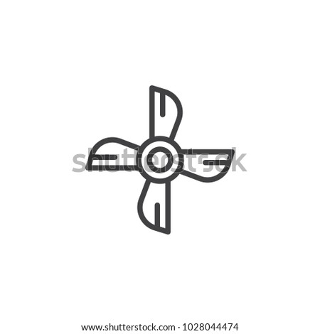 Ship engine propeller outline icon. linear style sign for mobile concept and web design. Boat propeller simple line vector icon. Symbol, logo illustration. Pixel perfect vector graphics