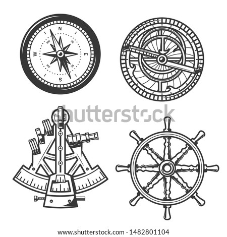 Ship helm, sail compass and sextant, seafarer marine navigation equipment. Vector icons of compass navigator with Winds Rose arrows and nautical astrolabe or geography positioning instruments