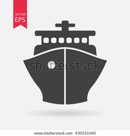 Ship icon. Cruise, tour, delivery concept, Marine boat. Transportation sign Isolated on white background. Trendy Flat style for graphic design, logo, Web site, social media, UI, mobile app, EPS10