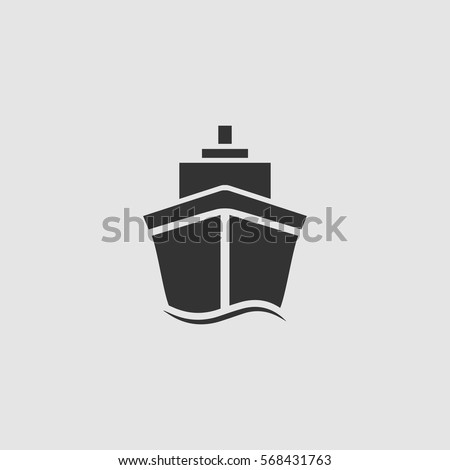 ship icon flat black pictogram