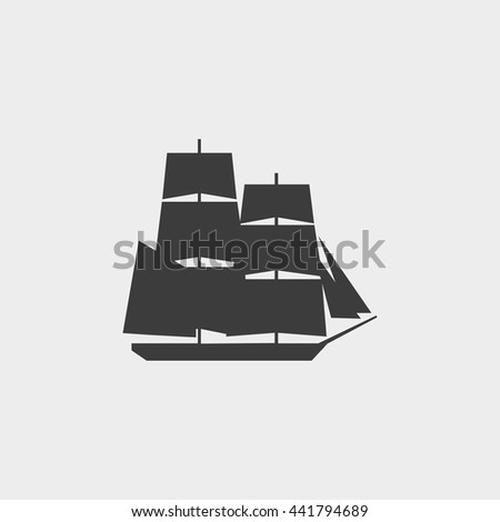 ship icon in a flat design in