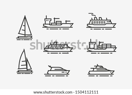 ship icon set shipping  cruise