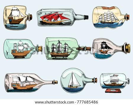 ship in bottle vector boat in