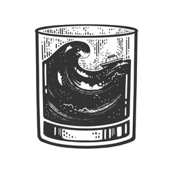 Ship in storm in glass sketch engraving vector illustration. T-shirt apparel print design. Scratch board imitation. Black and white hand drawn image.