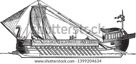 Ship is a large watercraft that travels the world oceans and other sufficiently deep waterways, vintage line drawing or engraving illustration.
