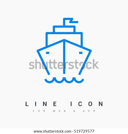 ship isolated minimal icon. liner graph line vector icon for websites and mobile minimalistic flat design.
