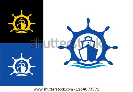 Ship Logo vector boat Sailing ship illustration on light background sign globe