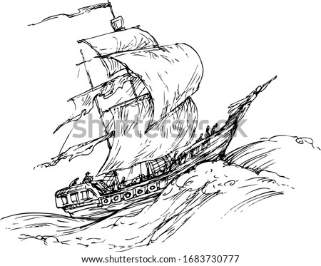 ship on a raging waves