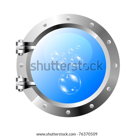 ship's porthole on a white wall - stock vector