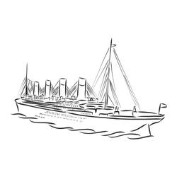 ship, steamboat, steamship, doodle style, sketch illustration, hand drawn, vector. steamship, vector sketch illustration