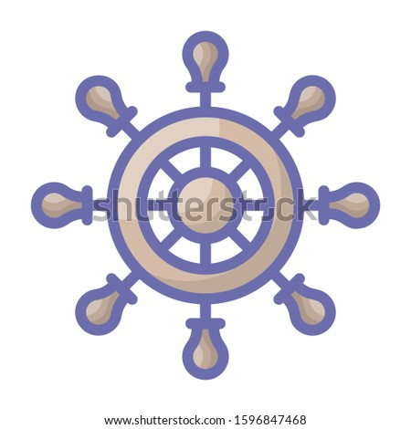 Ship steering, ship helm vector, flat icon