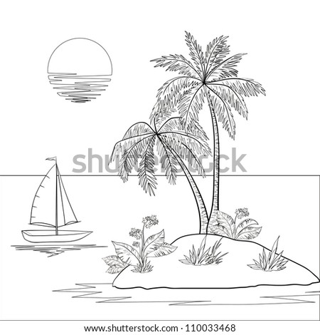 Ship, sun, tropical sea island with palm trees and flowers. Black contour on white background. Vector illustration