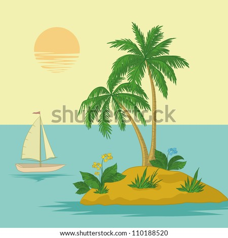 Ship, sun, tropical sea island with palm trees and flowers. Vector illustration - stock vector