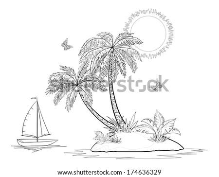 ship  sun  tropical sea island