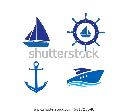 Ship, Wheel, Anchor and Yacht logo - isolated vector illustration