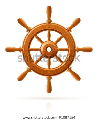 ship wheel marine wooden vintage  vector illustration isolated on white background - stock vector